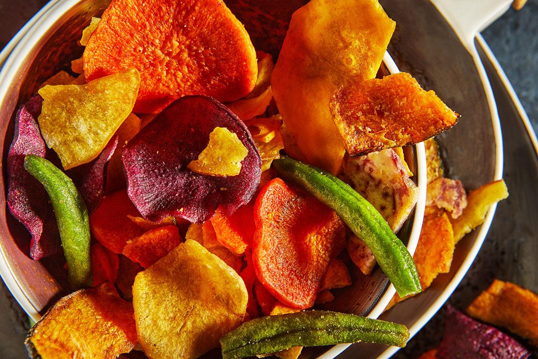 Chips de verduras al horno